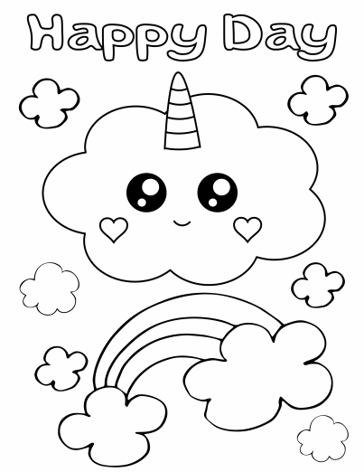 Cute Unicorn Coloring Pages and Cards
