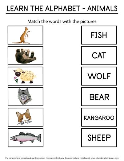 Alphabet Matching Animals Worksheets