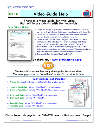 Worksheet for Bill Nye - Atoms and Molecules *
