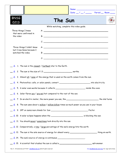 for Bill Nye - The Sun * Video Differentiated Worksheet / Video Guide
