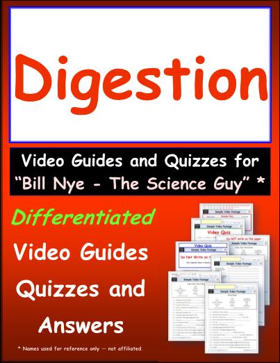 Worksheet for Bill Nye - Digestion * Video Differentiated Worksheet ...