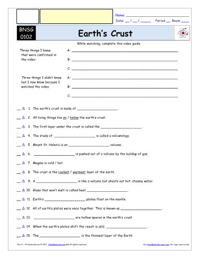 Worksheet For Bill Nye Earths Crust Video Differentiated