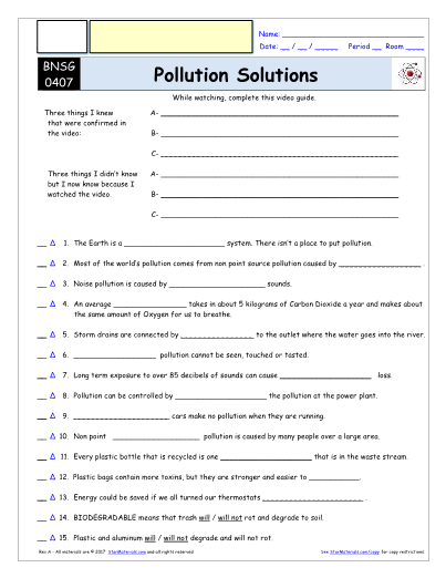 Worksheet for Bill Nye - Pollution Solutions * Video Differentiated ...