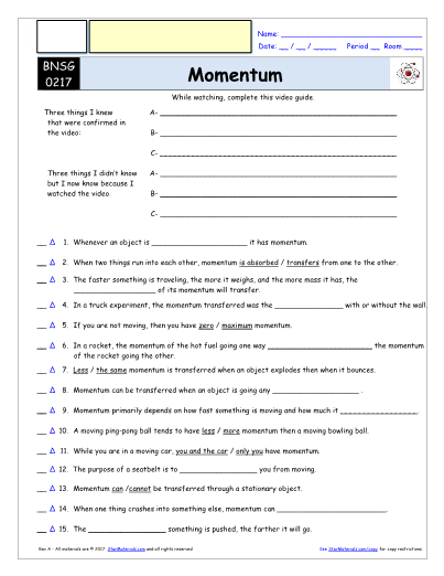 Worksheet for Bill Nye - Momentum * Video Differentiated ...