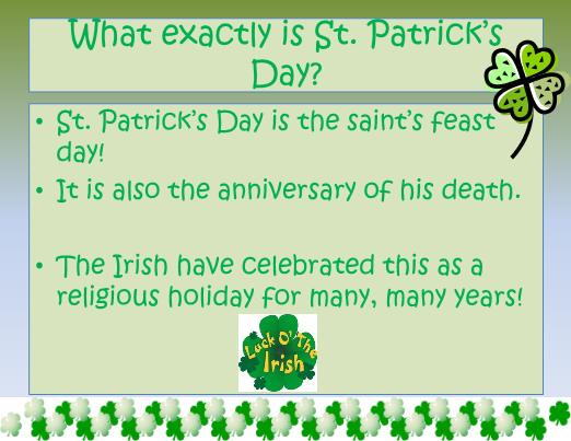 all about st patricks day slideshow with quiz