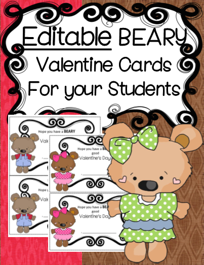 Editable Valentine Cards for your Students!