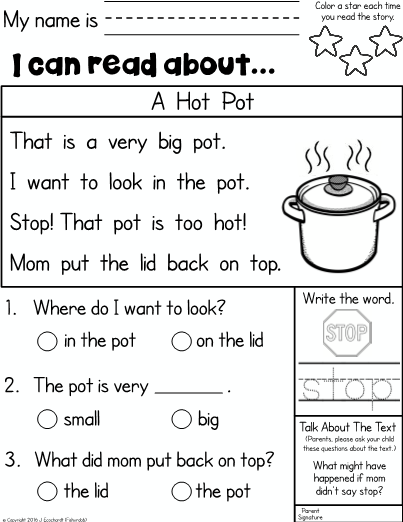 Kindergarten Reading Comprehension Homework