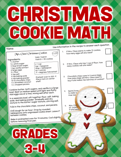 Christmas Math Worksheet 3rd 4th Grade
