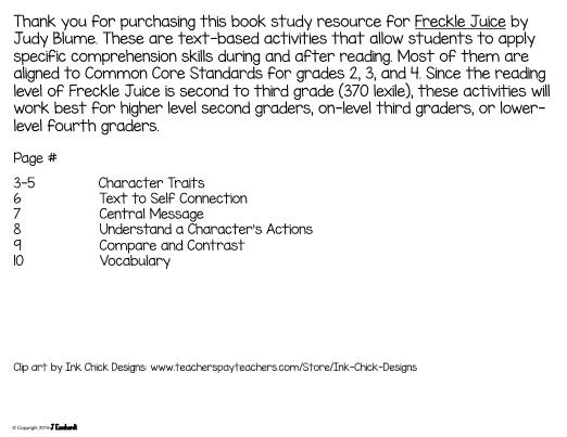 Juice Book Study Activities – Freckle Juice Worksheets