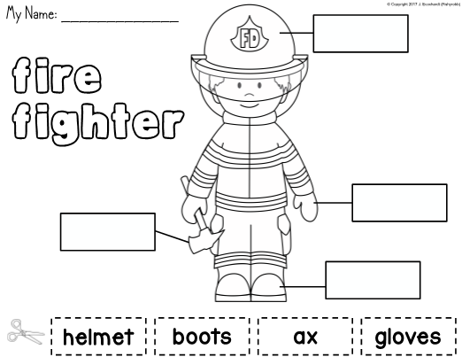Community Helpers Cut Paste Worksheets