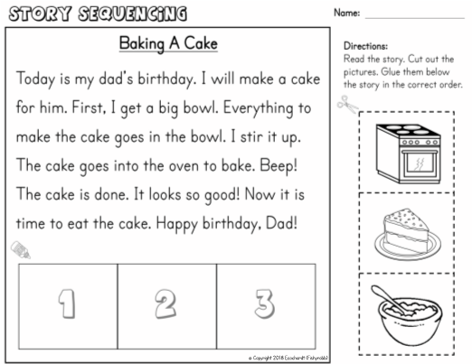 Story Sequencing Cut & Glue Worksheet 1st Grade