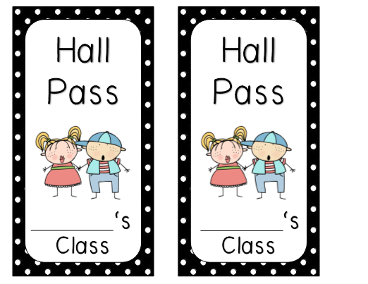 This is an image of Hall Pass Printable regarding supply