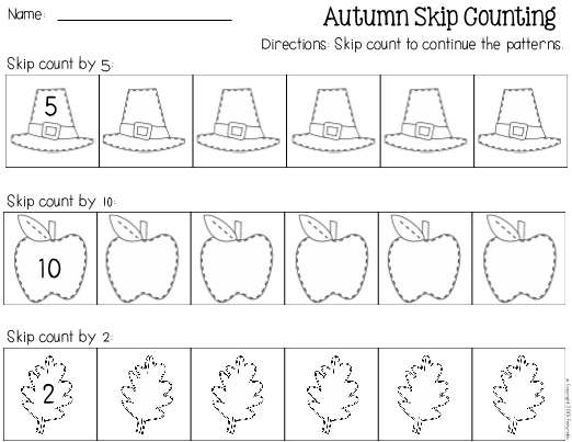 Fall Skip Counting Worksheet 2s, 5s, 10s