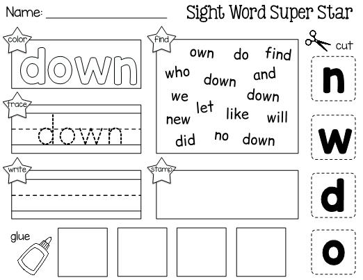 Word Down Cut Paste Worksheet