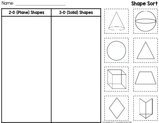 2-D Plane Shapes and 3-D Solid Shapes Worksheet