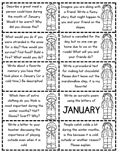 January Journal Jar Writing Prompts