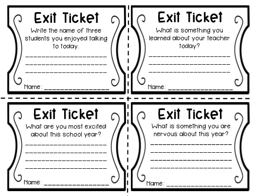 graphic relating to Exit Tickets Printable known as 1st 7 days of Faculty Exit Tickets